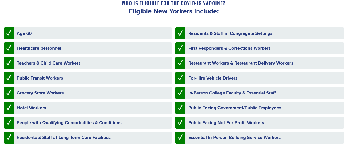 Eligibility for Vaccines in NYS